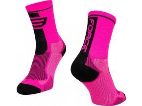 ponožky FORCE LONG, růžovo-černé