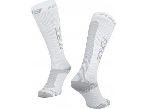ponožky FORCE ATHLETIC PRO KOMPRES, bílo-šedé