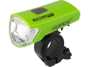 světlo přední FORCE EXTRA 70LM USB, zelené
