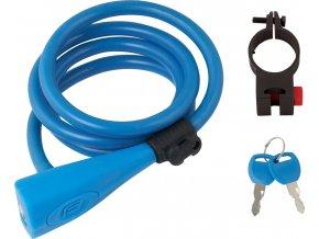 zámek F spirál.silikonový 120cm/10mm +držák, modrý