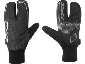 rukavice zimní FORCE HOT RAK 3-prsté, černé