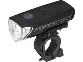 světlo přední FORCE TRIPLE 3 diody+baterie, černé