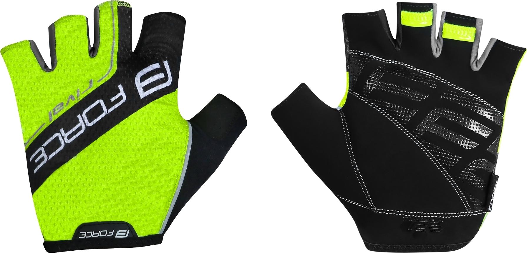 rukavice FORCE RIVAL, fluo-černé Velikost: M