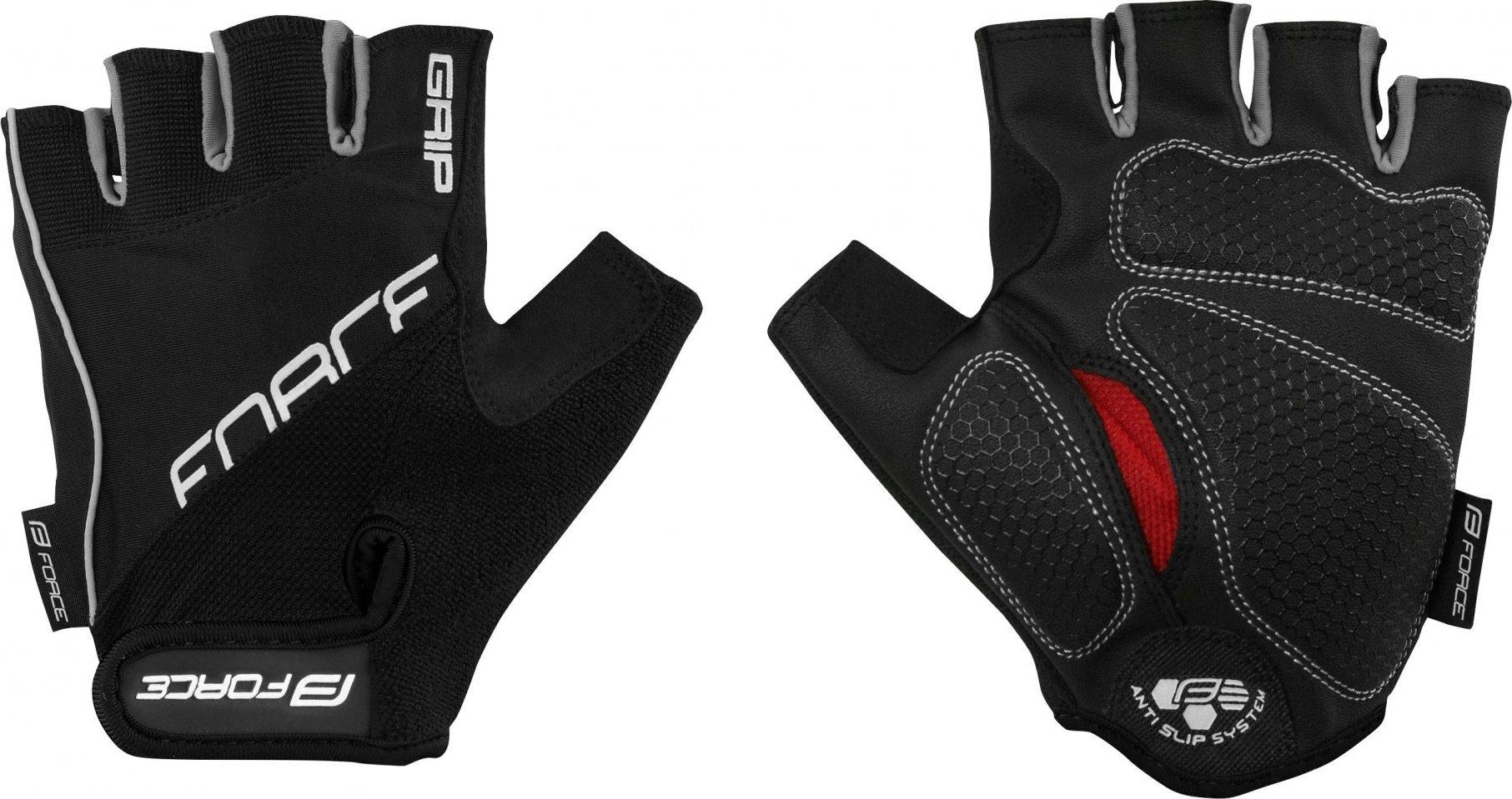 rukavice FORCE GRIP gel, černé Velikost: M