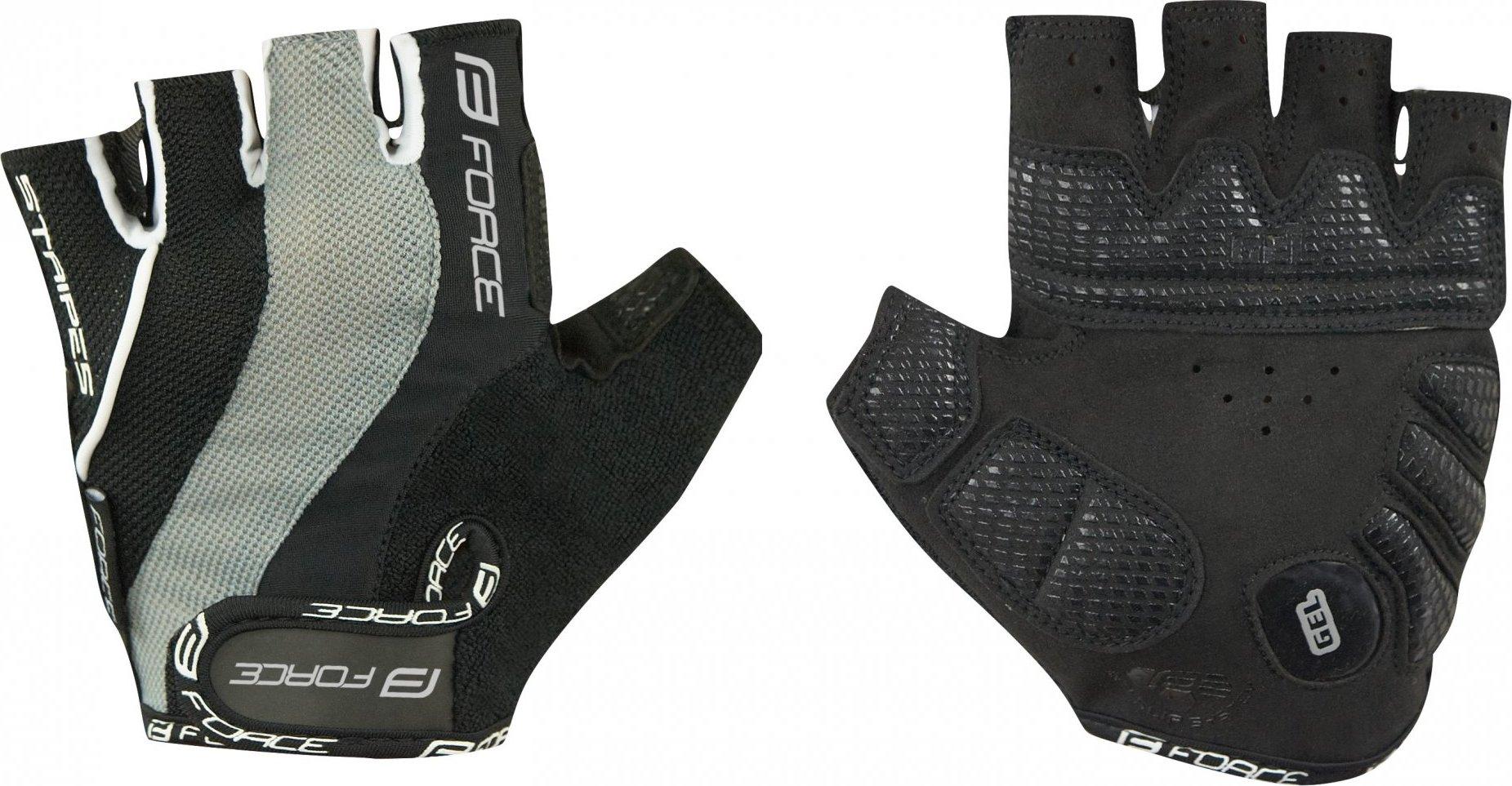 rukavice FORCE STRIPES gel, černé Velikost: M