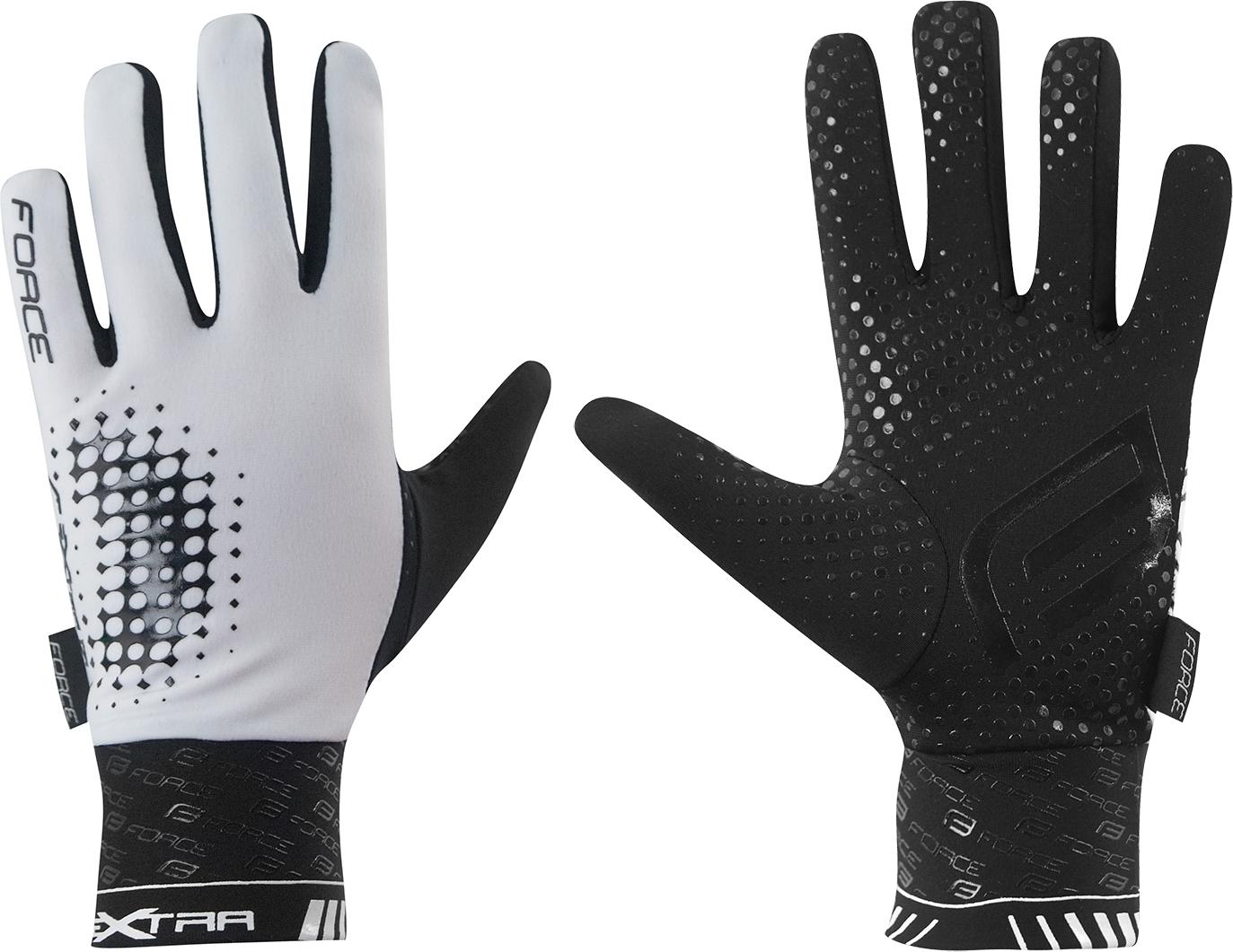rukavice FORCE EXTRA, jaro-podzim, bílo-černé Velikost: M