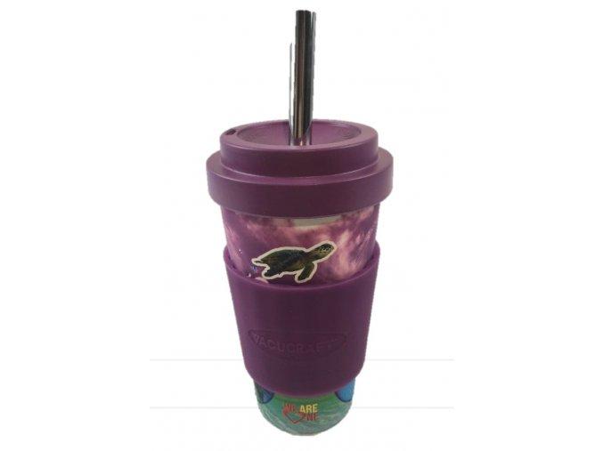 Vacucraft - Bambusový kelímek na studené nápoje s nerezovým brčkem (VC-500) - fialovomodrý