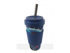 Vacucraft - Bambusový kelímek na studené nápoje s nerezovým brčkem (VC-500) - modrý