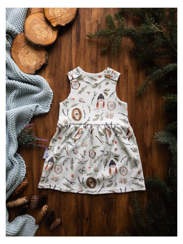 Organické dětské šaty na traky Podzimní sovy