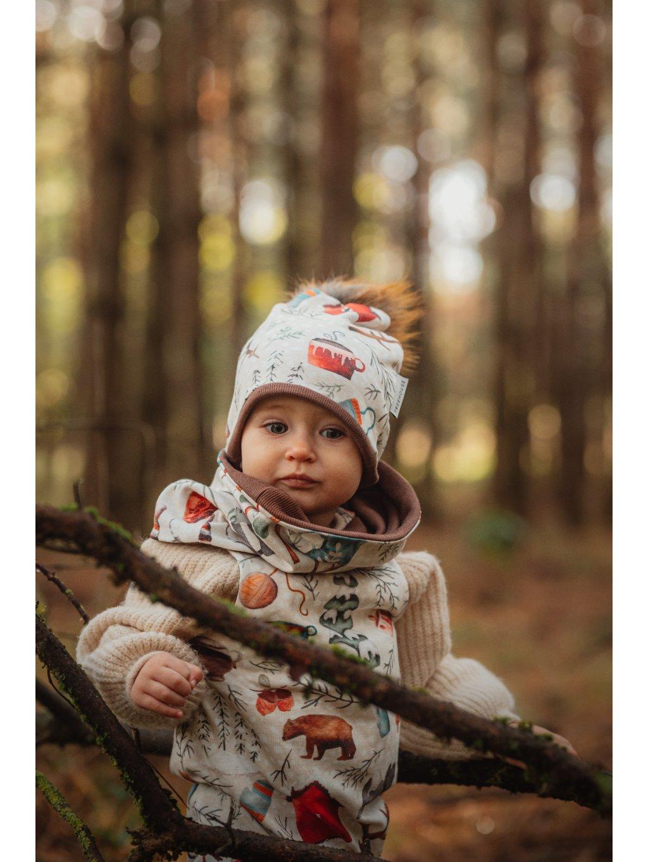 Dětská kulatá čepice s bambulí Alpy