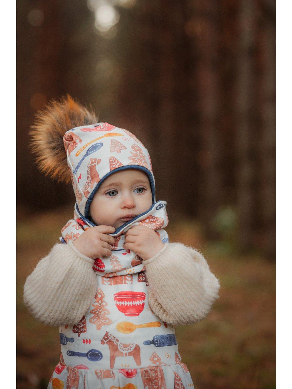 Dětská kulatá čepice s bambulí Bakery shop