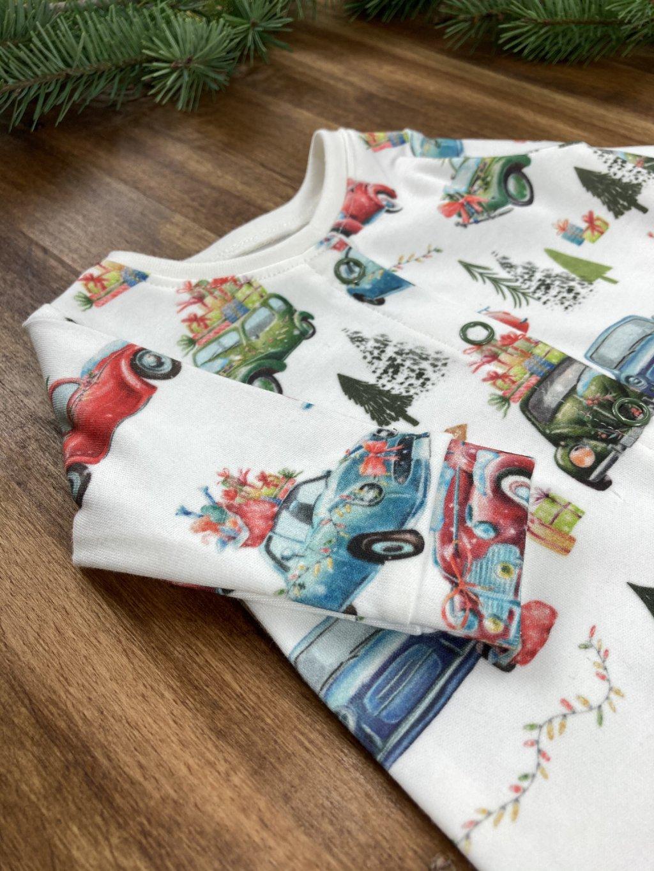 Bavlněné tričko s dlouhým rukávem Vánoční auta