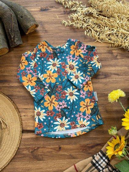 Bavlněné tričko s dlouhým rukávem Podzimní kvítí