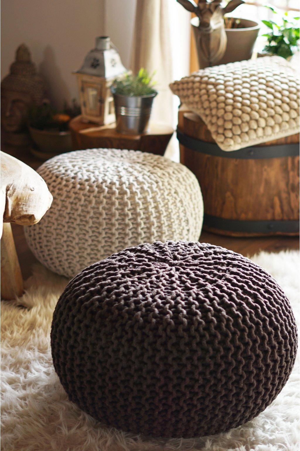 Velký pletený taburet hnědý