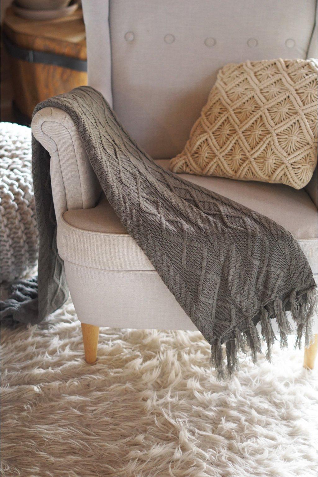 Pletený pléd Nordic šedý 120x150 cm