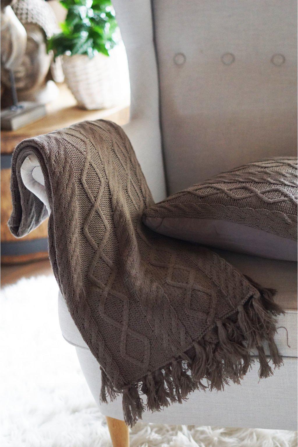 Pletený pléd Nordic hnědý 120x150 cm