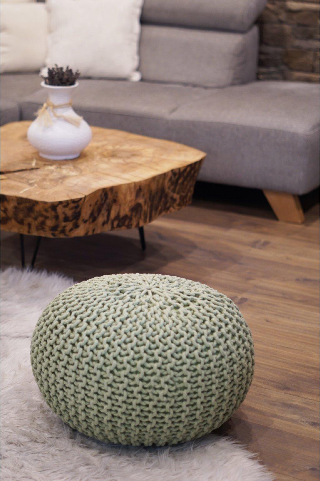 Velký pletený taburet zelená pastel