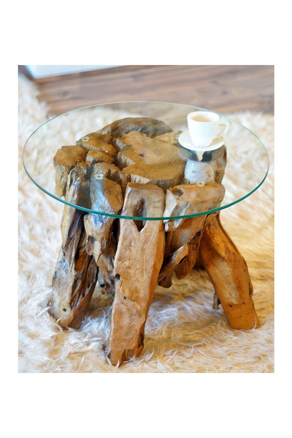 Teakový stůl Root Glass