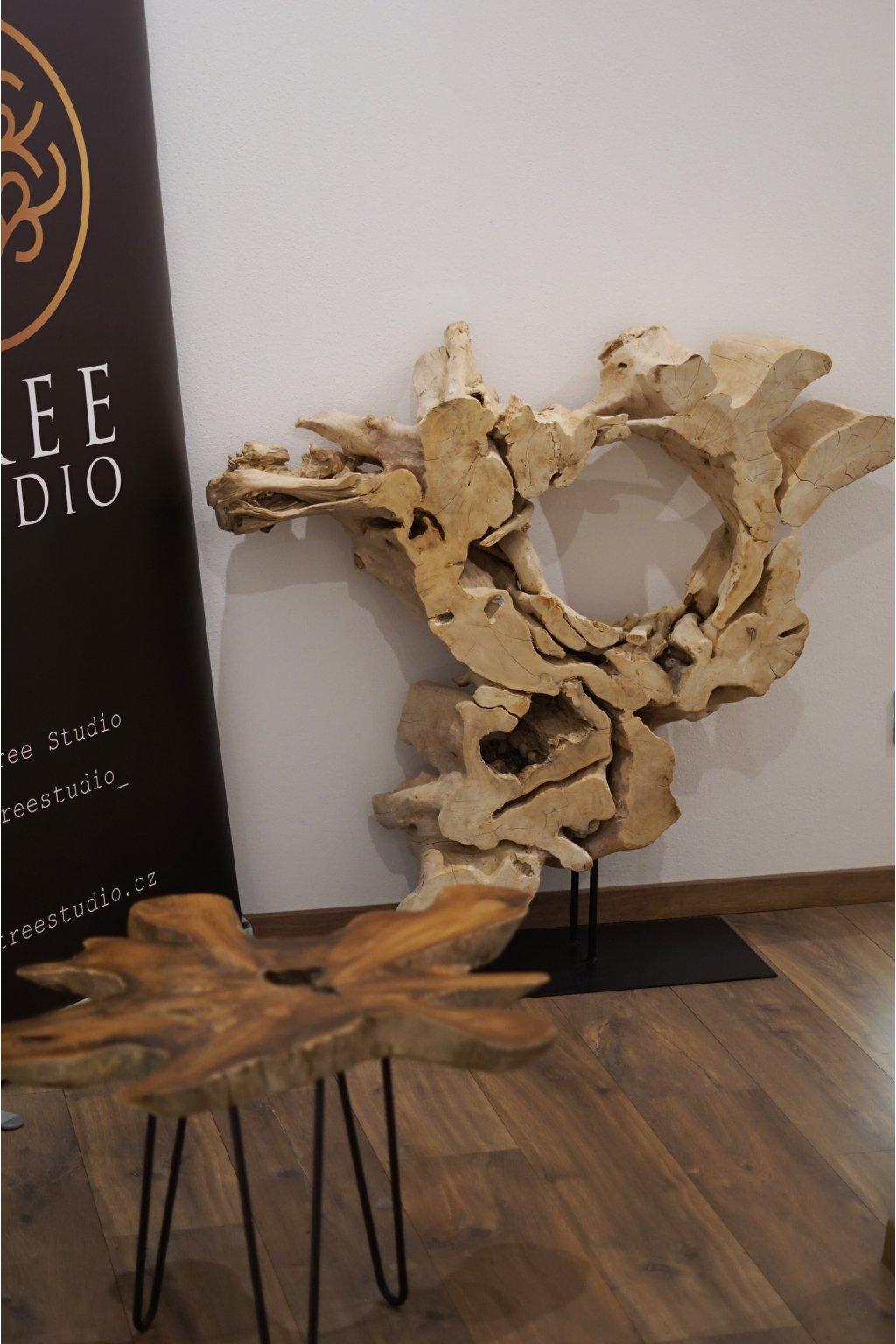 Velká dřevěná dekorace Circle Root 100 cm