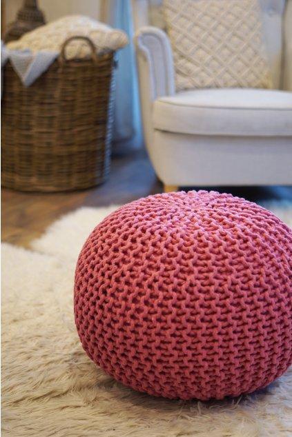 Velký pletený taburet růžový