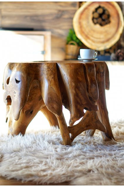 Teakový masivní stolek Root