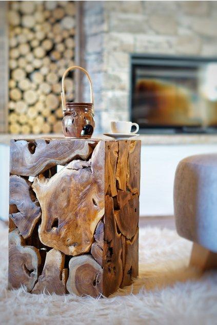 Teakový stolek Root Cube