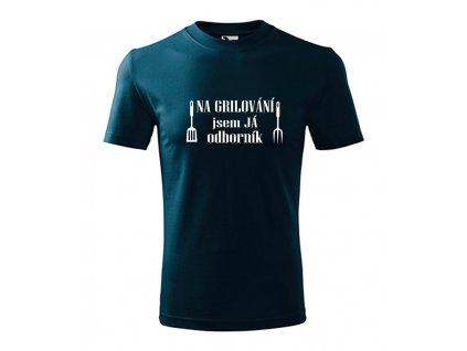 Pánské tričko na grilování jsem odborník (Barva textilu Námořní modrá, Velikost oblečení XS)