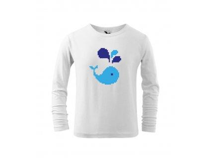 Dětské tričko s velrybou - dlouhý rukáv - pixel art