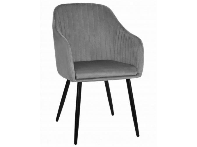 Sametová židle Madrid šedá