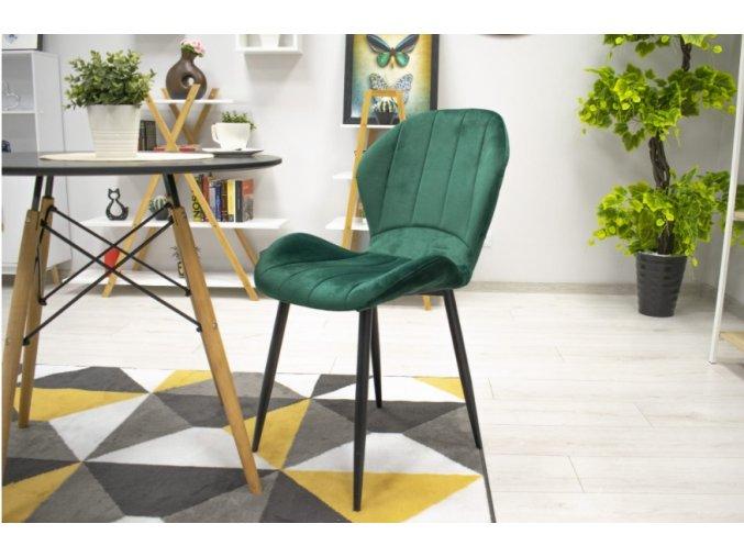 Sametová židle Barcelona zelená