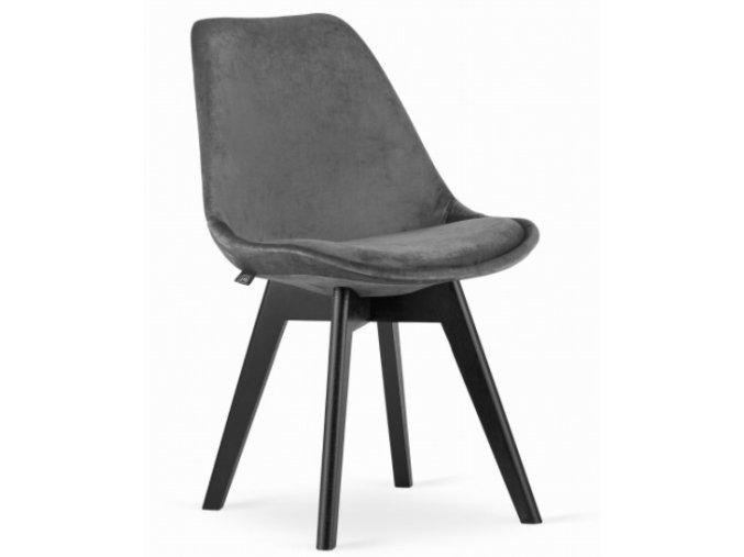 Sametová židle London šedá s černými nohami