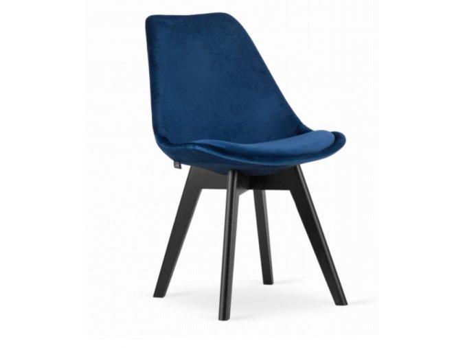 Sametové židle London modré s černými nohami 4ks