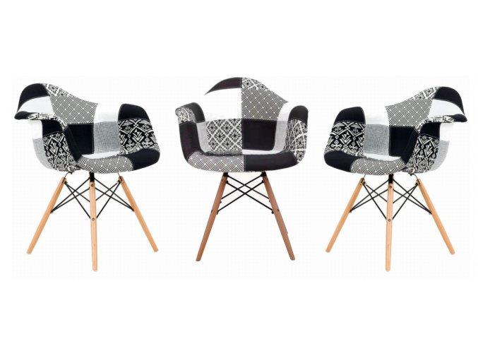 Jídelní židle Wave Patchwork černé 4 ks