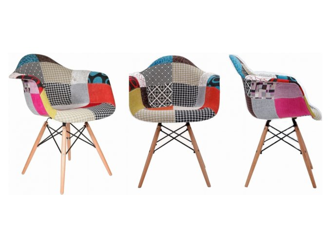 Jídelní židle Wave Patchwork Olivie 4 ks
