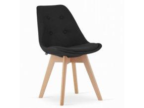 Jídelní židle London černé s přírodními nohami 4 ks