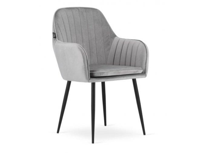Zamatová stolička Warsaw strieborno sivá