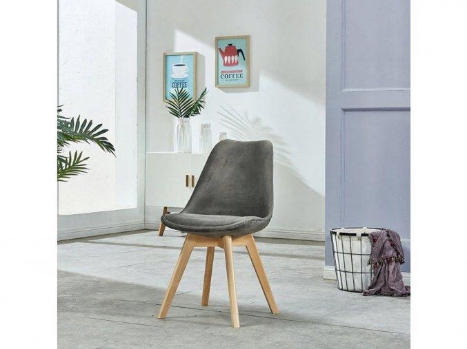 Zamatové stoličky London sivé s prírodnými nohami 4ks