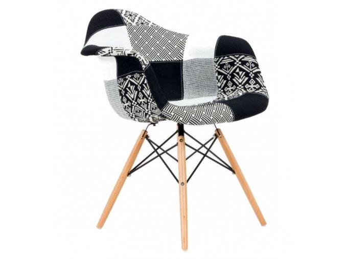 Jedálenské stoličky Wave Patchwork čierne 4 ks