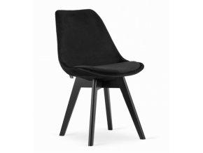 Zamatové stoličky London čierne s čiernymi nohami 4ks