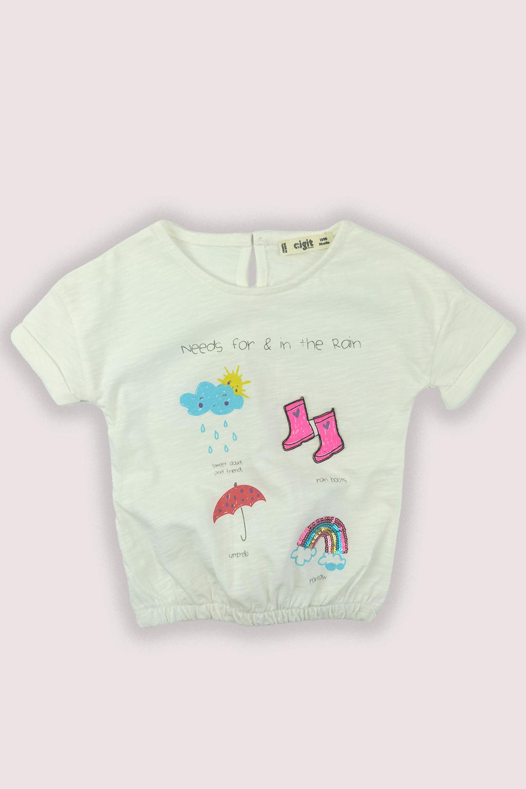 Dívčí tričko Rain v bílé barvě