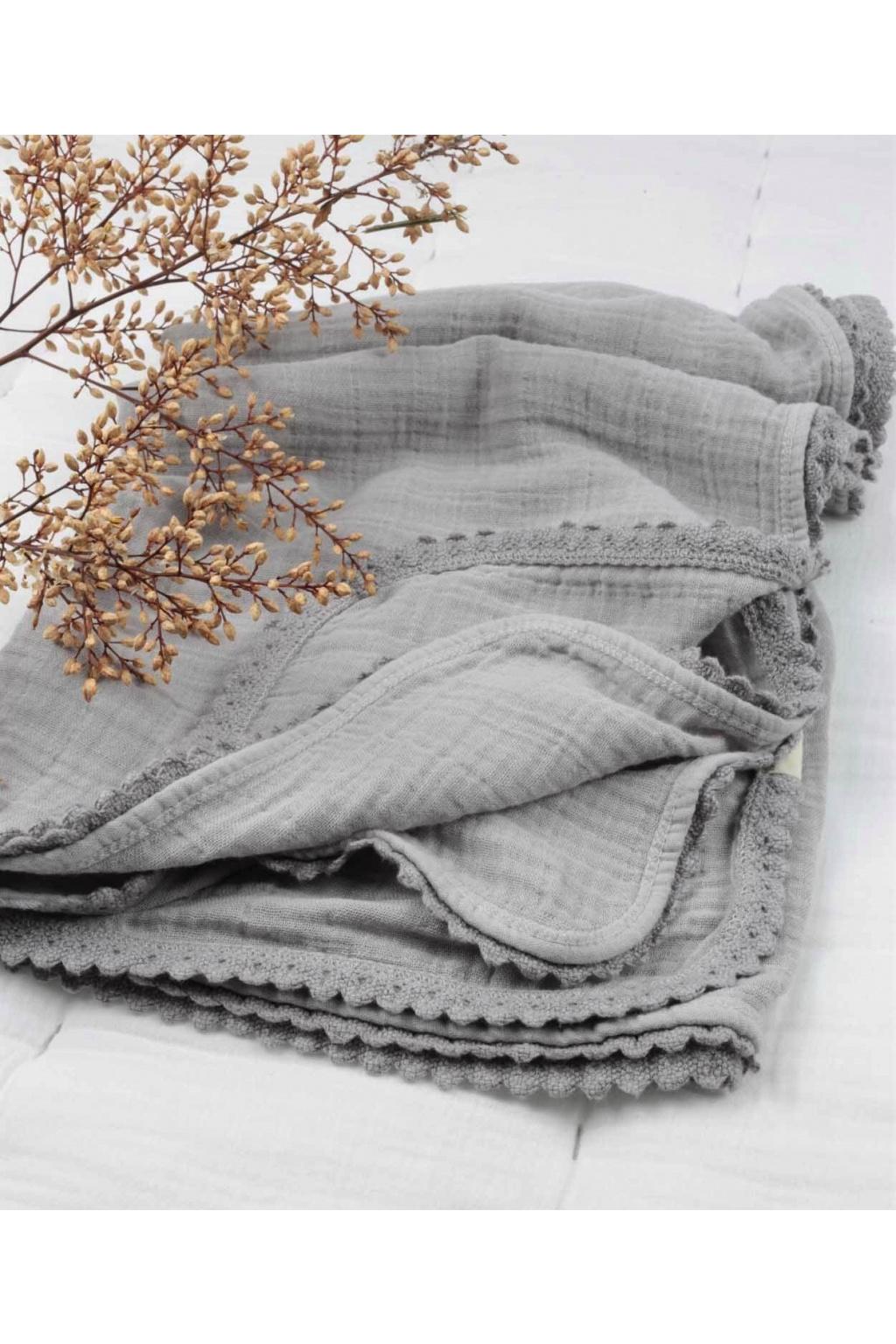 Mušelínová dětská deka se střapci 100x100