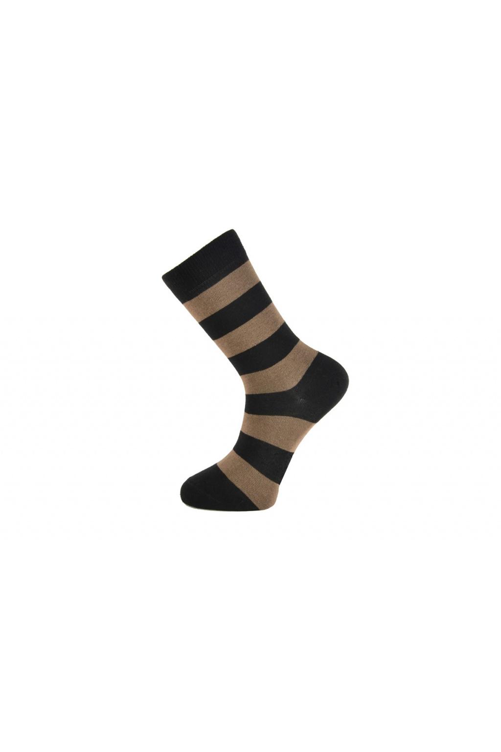Pánské ponožky s hrubšími proužky - béžové
