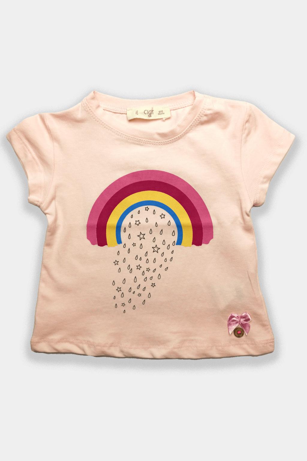Dívčí tričko růžová Duha