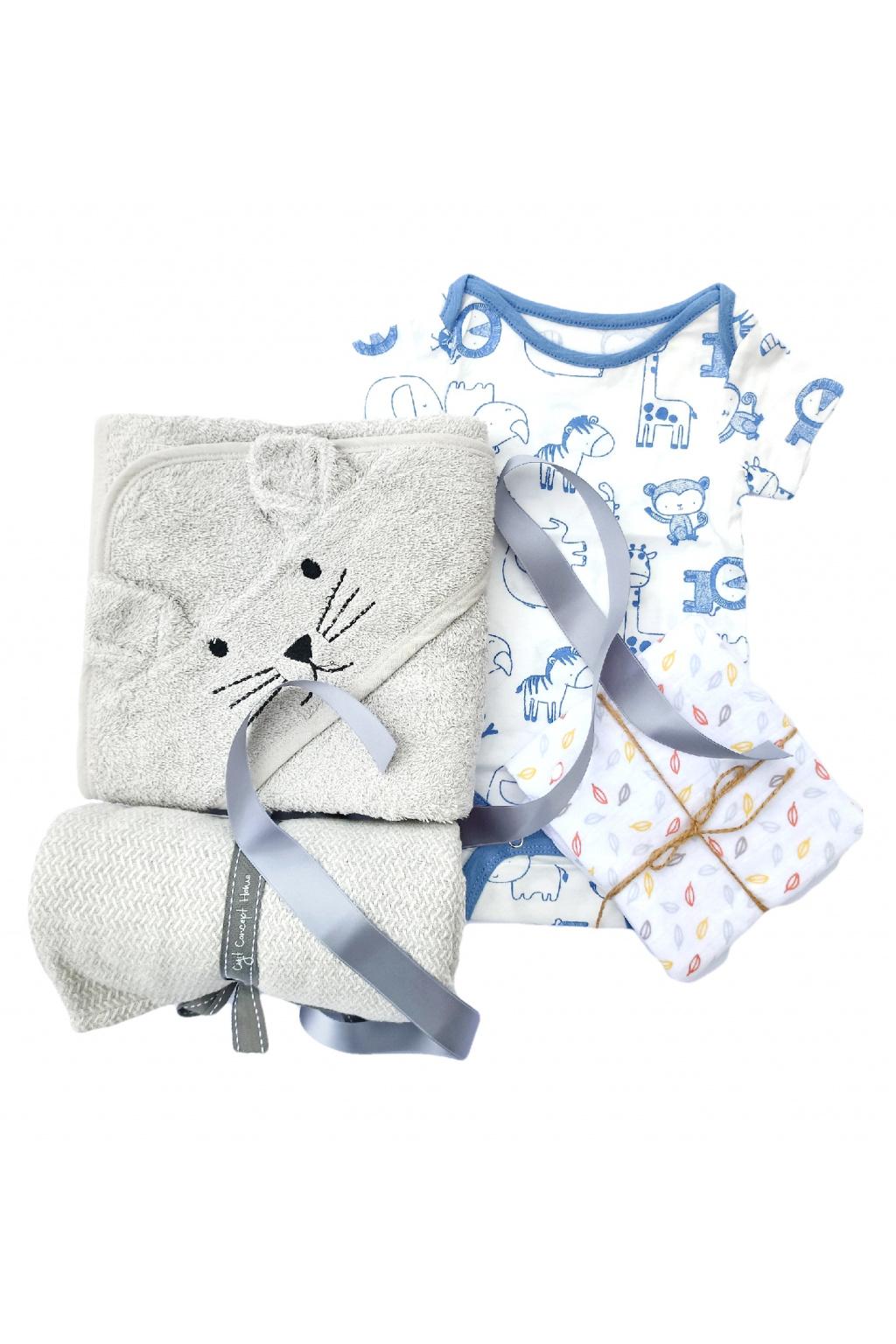 Dárková sada pro novorozence osuska, kojenecke body, muselinova plena