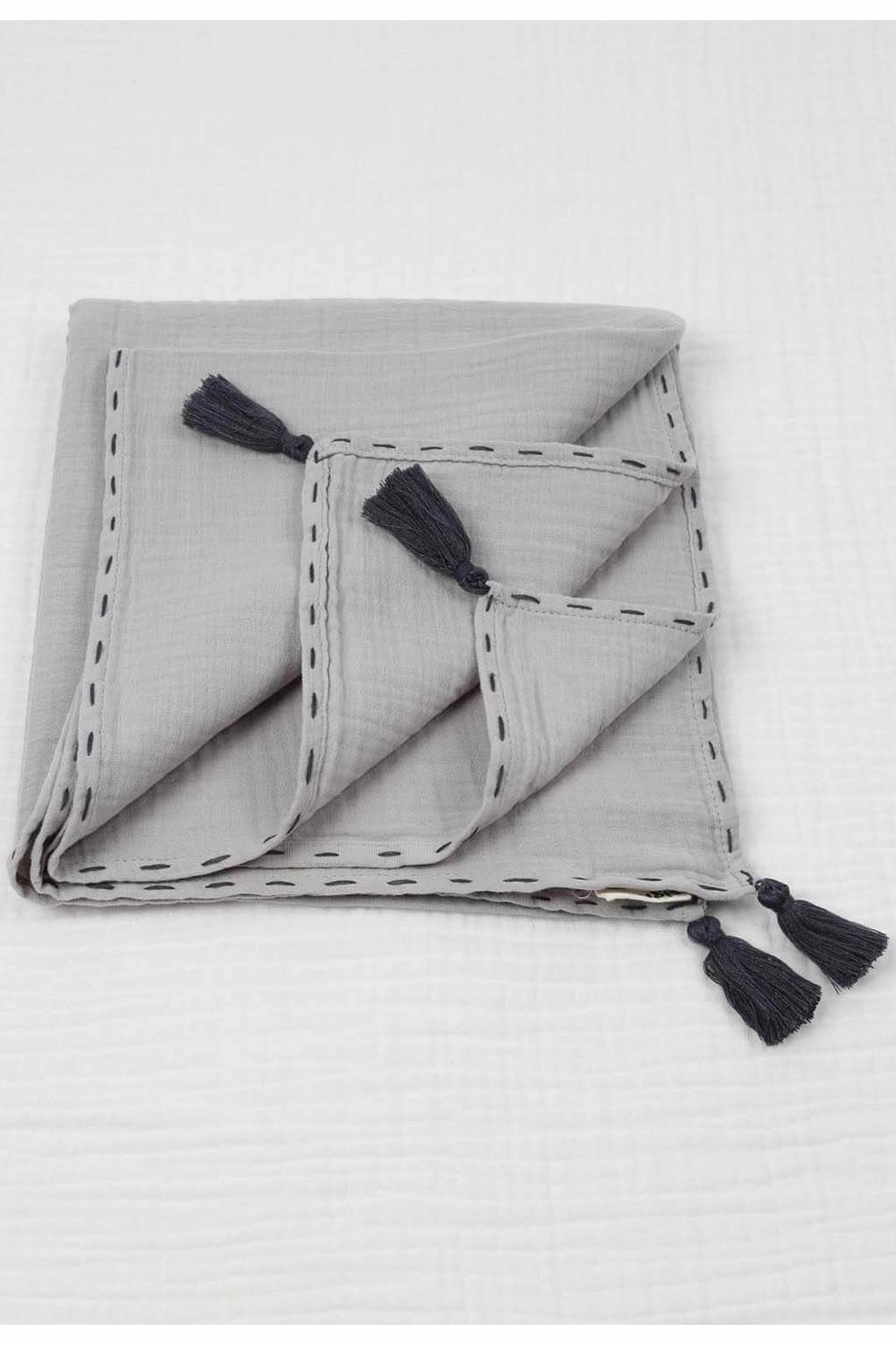 Mušelínová zavinovací deka 100x100 cm šedá