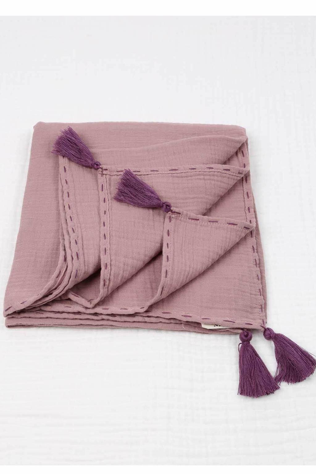Mušelínová zavinovací deka 100x100 cm růžovofialová