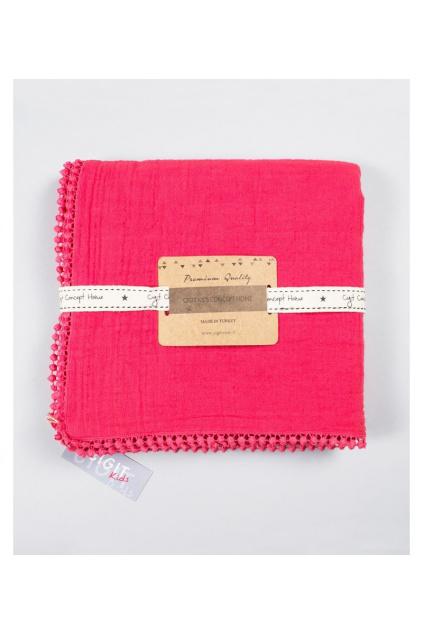 Dětská červená mušelínová deka se zaoblenými konci Cigit Premium