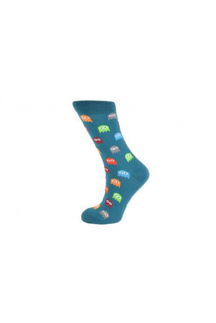 vesele ponozky pacman zelene