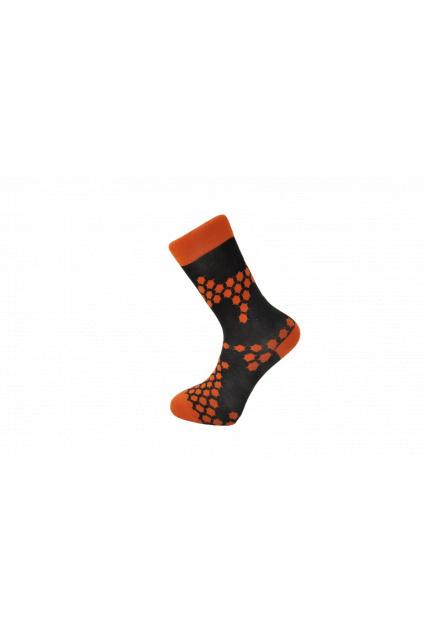 Veselé barevné pánské ponožky s oranžovým vzorečkem