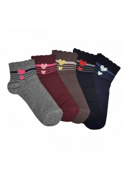 Kotníkové dámské ponožky Srdíčko